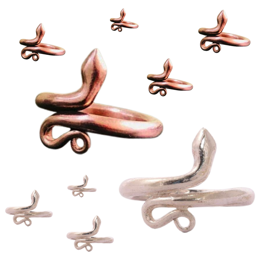 Copper Silver Isha Consecrated Snake Ring